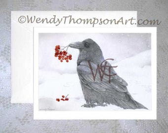 Rowan Raven... Holiday raven, rowan berries, winter snow, Christmas raven, mountain ash, Holiday cards