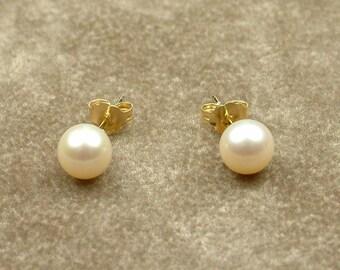 White Akoya Pearl Stud Earrings 6 - 6.5 mm (Σκουλαρίκια με Λευκά Μαργαριτάρια Akoya 6 - 6.5 mm)