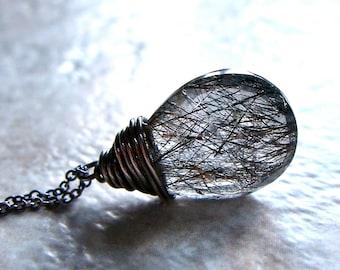 Tourmalinated Quartz Sterling Silver Pendant Necklace