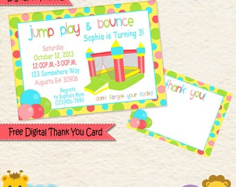 Bounce House Birthday Party Invitations • Bouncy Castle • Inflatable • Jump • Kids Party • Girl Birthday • Bounce Party