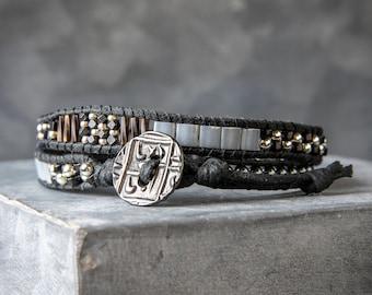 Beaded Wrap Bracelet - Mens Beaded Bracelet - Wrap Bracelet - Mens Bracelet - Double Wrap Bracelet - Beaded Bracelet - Mens Wrap Bracelet