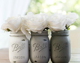 Gray & White Painted, Distressed Mason Jars - Gray, Greige, White