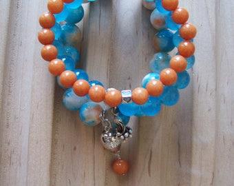 Summer Fling 3-Bracelet Stack/Orange Jade/Sky Blue Agate/Variegated White Orange Blue Agate Bracelet