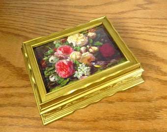 Vintage Gold Box Keepsake Box with Gilt Gold and Floral Still Life Print Wooden Gold Painted Wooden Jewelry Box Hollywood Regency