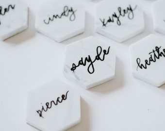 Custom Calligraphy Marble Tiles | Hand Lettered Hexagons | Custom Wedding Name Cards | Table Numbers/Names