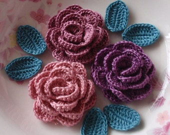 3 Crochet  Roses With Leaves YH - 065-15