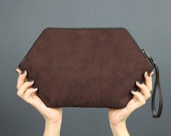 Vegan fashion brown purse crossbody, clutch wristlet, zipper clutch urban