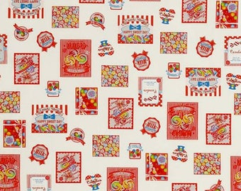 Candy, Gum, Sweets, Lollipop Red Border Design Cotton Woven by Lecien fabrics