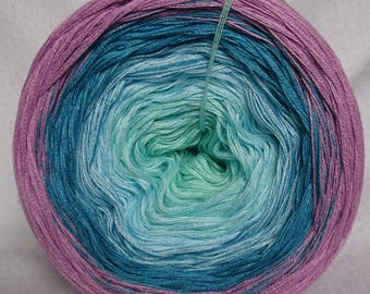 Gefachtes color gradient yarn, 3 threads, 4 colours, hand wrapped in cotton mix (art. Nr. F031)