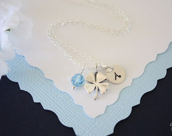 Four Leaf Clover Personalized Initial Necklace, Irish, Sterling Silver, Birthstone, Lucky Necklace, Monogram Necklace, 4 leaf clover, clover