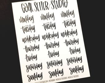 Days of the Week | Planner Stickers, Hand Lettered Stickers
