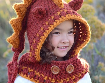 CROCHET PATTERN - Lucky Dragon Hood & Cowl - chunky crochet dragon hooded cowl pattern (Toddler/Child/Adult sizes) - Instant PDF Download