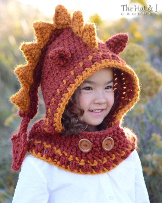 Crochet Pattern Lucky Dragon Hood Cowl Chunky Crochet Dragon