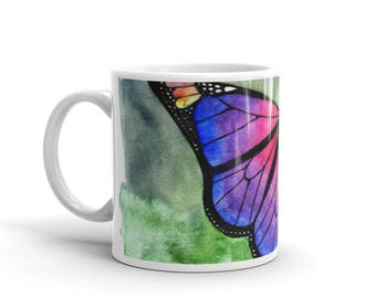 Colorful butterfly original unique watercolor painting white glossy mug