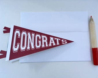 Congrats Card // Graduation Card with School Colors // Pennant Shape Card