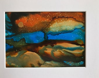 Original Alcohol Ink Painting, 5 x 7, matted to 8 x 10