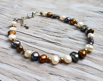 Freshwater Pearl Bracelet.  Petite Grey, Gold and Creamy White Pearl Bracelet.  JemstoneZ Bracelet.