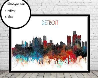 Detroit, Detroit skyline, watercolor Detroit, Detroit print, Detroit art, Detroit Michigan, watercolor City Print, Office Art (3684b)