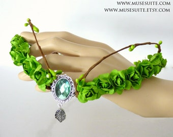 Fairy crown with leaves - Forest crown - Woodland circlet - Elven Diadem - Elf headpiece headress.