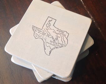 Rustic Texas Wood Coasters Set of Four MADE to ORDER