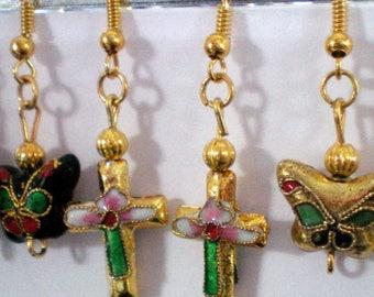 Dangling earrings - gold cloisonne beads - small cross