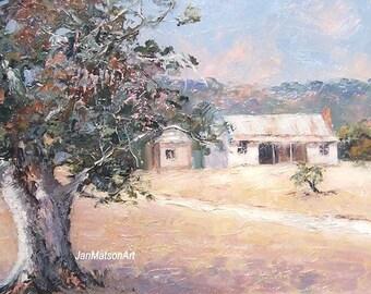 FRAMED, Landscape Painting, cottage decor, gum tree painting, country scene, cottages, landscape art, original oil painting by Jan Matson