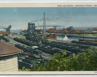Dock Railroad Yards Ashtabula Harbor Ohio linen postcard