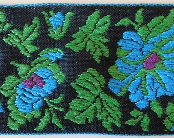 Vintage cotton Jacquard Ribbon Trim Tape~Gorgeous Floral design~Blue~dark purple~green~Black~1-15/16""