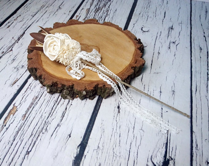 Flowergirl wand cream rustic wedding Ivory Flowers linen cord cotton lace handle mother Bridesmaids sola roses vintage wedding brown custom