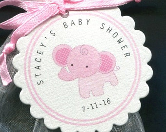 25 Personalized Baby Shower Favor Tags - Baby Shower Tag - Baby Girl - Favor Tags - Elephant Baby Shower - Jungle - Pink - Gift Tags