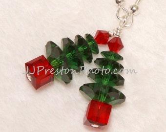 Genuine Swarovski Crystal Christmas Tree Earrings ~ Gift ~ FREE Ship USA