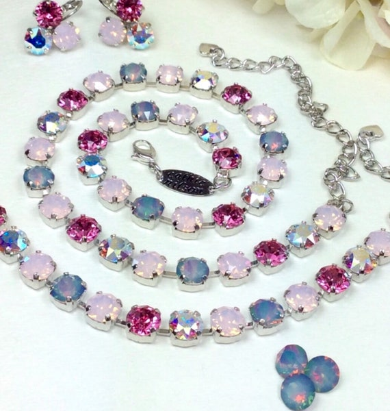 "Swarovski 8.5mm ""Pink Medley "" Necklace &  Bracelet with White Opal Rainbow Accents - Designer Inspired  - Stunning and Classy"