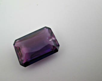 SALE, Alexandrite, Color Changing Purples, Plums, Pinks, Blue, Lab Created, Beautiful Emerald Shape, Front Drilled, Single Focal, Solitaire