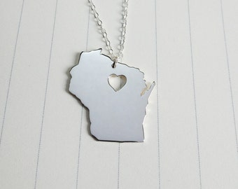 Wisconsin State Charm Necklace,Silver Wisconsin State Necklace,WI State Necklace,State Shaped Necklace  With A Heart