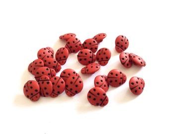 8 Tiny Ladybug Buttons, Red, Black, Vintage, Kids Buttons