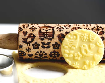 Scandinavian Folk pattern with owls - Mini Embossing rolling pin, Laser engraved rolling pin, Cookies decorating roller