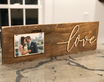 Custom Love Photo Frame | Wedding Photo Frame | Custom Photo Wall Decor | Personalized Farmhouse Picture Frame