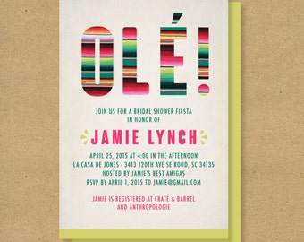 OLE! Mexican Fiesta Themed Baby Shower or Bridal Shower Invitation // Digital or Printed Party or Shower Invite