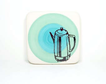 tile with a percolator on a color block of blue green and turquoise, made to order.