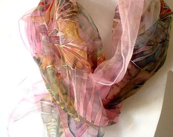 Hand painted silk scarf, floral silk scarf, muted pink scarf, chiffon silk scarf, silk neck wrap,