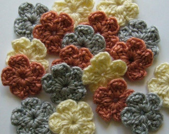 Crocheted Flowers - Gray, Coral and Ivory - Wool Blend Flowers - Forget-Me-Nots - Crocheted Flower Appliques - Set of 6