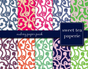 Audrey Digital Paper Pack (Instant Download) audrey, swirls