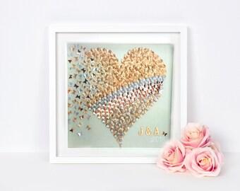 Gold heart butterflies   paper butterfly  3D butterflies heart wall art  3D paper art   Gold Silver butterflies Heart Frame  paper butterfly