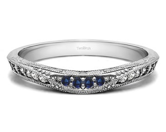 Vintage Filigree Wedding Band Set in Sterling Silver with Diamonds and Sapphires (0.18ct) - Wedding Band - Curved Ring