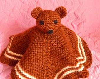 Small sleeping blanket with teddy bear - a toy for children. A nice gift for baby.