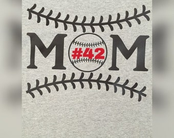 Custom Baseball Mom/Gray Front/Black 3/4 Sleeves/Personalized with  Players Number or Name/FREE SHIPPING!