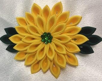 Yellow And Dark Green Kanzashi Style French Barrette