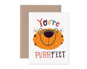 You're Purrfect Tiger Greeting Card • Cute Love and Friendship Stationery • Tiger in Glasses