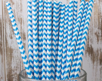 25 Ct Blue Chevron vintage striped paper drinking straws - with FREE DIY Flag Template