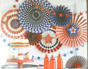 PaperLove Red White & Blue Stars and Stripes Hanging Party Fans